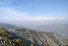 UTTRAKHAND VIEW ON OCTOBER ITS THE TIME OF FIRST SNOW FALL royalty free stock image