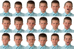 Uttryck - årig pojke nio Arkivbilder