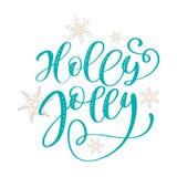 Uttryck för jul för Holly Jolly kalligrafibokstäver tecknade handbokstäver text för samkopieringar för foto för designhälsningkor stock illustrationer