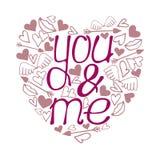 Uttryck för kalligrafi för dag för valentin` s - dig & mig Royaltyfria Foton