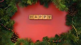 Uttryck för lyckligt nytt år som göras av kuber, ferieberöm, östlig kalender stock video