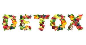 Uttrycka DETOXEN som komponeras av olika frukter med sidor Arkivfoton