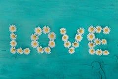 Uttrycka FÖRÄLSKELSE som göras ut ur blomman på en träbakgrund Lekmanna- lägenhet man för begreppskyssförälskelse till kvinnan Mi royaltyfri bild
