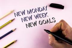 Uttrycka för den nya nya mål måndag för handstiltext nya veckan Affärsidéen för att nästa veckaupplösningar ska göra listamål upp Arkivbild