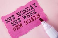 Uttrycka för den nya nya mål måndag för handstiltext nya veckan E Royaltyfri Fotografi