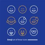 Uttrycka för Emoji linje symboler, för leendesymbol, för sinnesrörelser och för känslor Arkivfoto