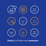 Uttrycka för Emoji linje symboler, för leendesymbol, för sinnesrörelser och för känslor Royaltyfria Bilder
