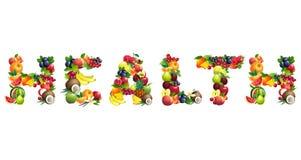 Uttrycka HÄLSA som komponeras av olika frukter med sidor vektor illustrationer