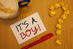 Uttrycka handstiltext det S en Motivational appell för pojke Affärsidéen för man behandla som ett barn är den kommande genuset av Royaltyfri Bild