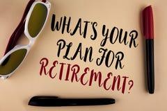 Uttrycka handstiltext vad ÄR ditt plan för avgångfråga Affärsidé för tanke några plan, när du växer gammalt skriftligt på p Royaltyfria Foton
