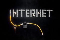 Uttrycka internet som göras av kontaktdon RJ45, hänglåset och tangent Arkivfoto