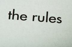 Uttrycka reglerna Fotografering för Bildbyråer