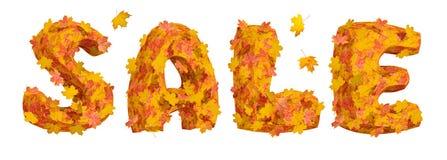 Uttrycka Sale som göras av enorma bokstäver som täckas av ljusa lönnlöv Arkivbilder