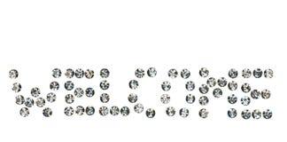 Uttrycka välkommet som göras av ‹för †med bergkristaller, Royaltyfria Bilder