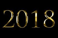 Uttrycker gul guld metalliska 2018 för tappning text med ljus reflex på svart bakgrund med den alfabetiska kanalen, begrepp av gu vektor illustrationer
