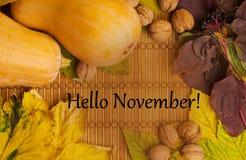Uttrycker hälsningar november på lantlig bakgrund Arkivbilder