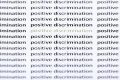 Uttrycker 'positiv diskriminering' som omges av liknande text Royaltyfri Bild