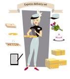Uttrycklig leverans, uppsättning Ung flickakurir med en jordlott, bokstav, kaka, pizza, blommor, i hand Royaltyfria Foton