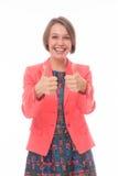 Uttrycklig positivity för kvinna på vit royaltyfria bilder