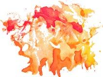 Uttrycksfull abstrakt vattenfärgfläck med färgstänk och droppar Royaltyfri Fotografi
