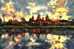 Uttrycksfull akrylmålning, Angkor Wat Arkivfoto