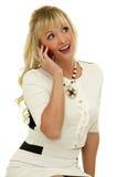 Uttrycksfull flicka med mobiltelefon Royaltyfri Fotografi