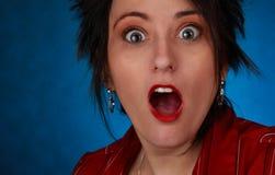 uttrycksfull kvinna för closeup Royaltyfri Fotografi