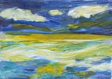 Uttrycksfull målning av havet och himlen Arkivbild