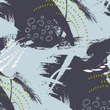 Uttrycksfull modell för vektorgrungeabstrakt begrepp Borsta det minimalistic trycket för slaglängden i färger för gråa blått Past vektor illustrationer