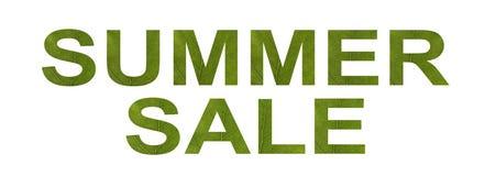 Uttryckssommar Sale Bokstäverna snidas från det gröna bladet Makro n?rbild Begrepp: ekologi sommar, försäljningssuccé stock illustrationer