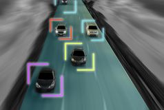Uturistic road of genius for intelligent self driving cars, Artificial Intelligence system,Detecting speed at city speed,With con. Cept of future vehicle safety royalty free stock photo