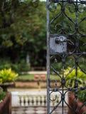 Utvändig dörr med den suddiga trädgården Arkivfoto