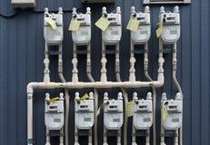 Utvändigt gasräkneverk i Japan arkivfoto