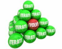 Utveckla Vs upprepar Major Change Ball Pyramid Arkivfoton