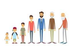 Utveckling av män från ungt spädbarn till den gamla höga åldern vektor illustrationer