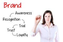 Utveckling c för lojalitet för märke för handstil för affärskvinna royaltyfri foto