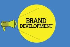 Utveckling för märke för ordhandstiltext Affärsidé för definition av produkten för att överträffa i främja för marknad royaltyfri illustrationer