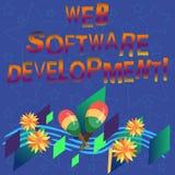 Utveckling för programvara för handskrifttextrengöringsduk Begreppsbetydelseplan som gör konsumenter medvetna av ett färgrikt ins vektor illustrationer
