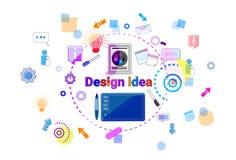Utveckling för programvara för process för begrepp för idé för rengöringsdukdesign som idérik programmerar banret stock illustrationer