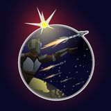 Utvidgning av utrymme Begrepp av erövring av andra planeter stock illustrationer