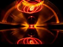 Utylizowywać obiektyw piłkę, lekkiego kij i lekkiego ostrze, tworzyć abstrakcjonistycznego wormhole skutek obrazy stock