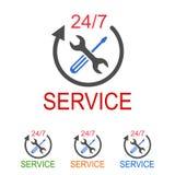 24 uur op 24 uur ondersteunende dienst De embleemdienst Stock Afbeeldingen
