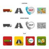 24 uur op 24 uur, weg, vrachtwagen, JPS Loqistic, vastgestelde inzamelingspictogrammen in beeldverhaal, de vlakke, zwart-wit voor Vector Illustratie