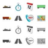 24 uur op 24 uur, weg, vrachtwagen, JPS Loqistic, vastgestelde inzamelingspictogrammen in beeldverhaal, de zwart-wit voorraad van Stock Foto
