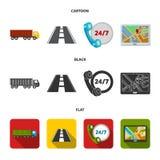 24 uur op 24 uur, weg, vrachtwagen, JPS Loqistic, vastgestelde inzamelingspictogrammen in beeldverhaal, de zwarte, vlakke voorraa Royalty-vrije Stock Fotografie