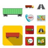 24 uur op 24 uur, weg, vrachtwagen, JPS Loqistic, vastgestelde inzamelingspictogrammen in beeldverhaal, vlakke de voorraadillustr Royalty-vrije Stock Afbeeldingen