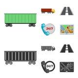 24 uur op 24 uur, weg, vrachtwagen, JPS Loqistic, vastgestelde inzamelingspictogrammen in beeldverhaal, zwarte de voorraadillustr Royalty-vrije Stock Foto's