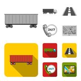 24 uur op 24 uur, weg, vrachtwagen, JPS Loqistic, vastgestelde inzamelingspictogrammen in de zwart-wit, vlakke voorraad van het s Stock Foto