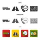 24 uur op 24 uur, weg, vrachtwagen, JPS Loqistic, vastgestelde inzamelingspictogrammen in de zwarte, vlakke, zwart-wit voorraad v Stock Afbeeldingen