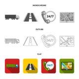 24 uur op 24 uur, weg, vrachtwagen, JPS Loqistic, vastgestelde inzamelingspictogrammen in vlakte, overzicht, de zwart-wit voorraa Stock Afbeeldingen